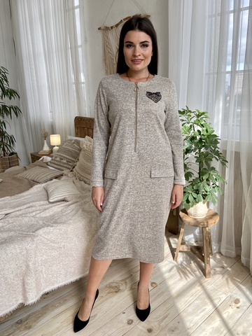 Даяна. Практичное повседневное платье больших размеров. Бежевый