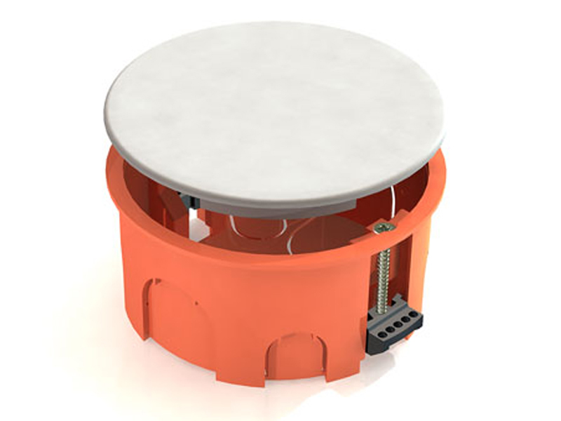 Распаячная коробка СП D80х40мм, крышка, пл. лапки, IP20, TDM