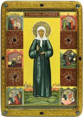 Большая живописная икона Блаженная старица Матрона Московская 42х29см на кипарисе в березовом киоте