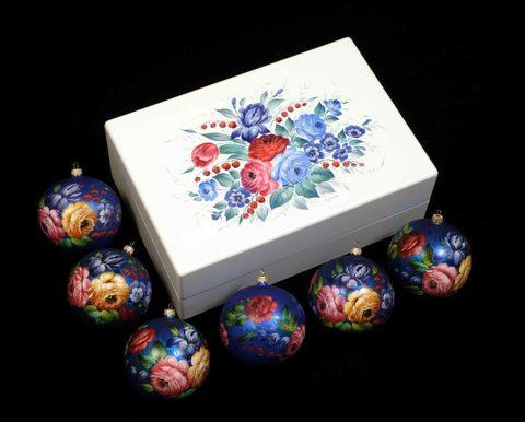 Набор из 6 елочных шаров в шкатулке SET04D-667785777