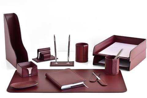 Набор настольный руководителя  12 предметов из кожи, цвет бордо