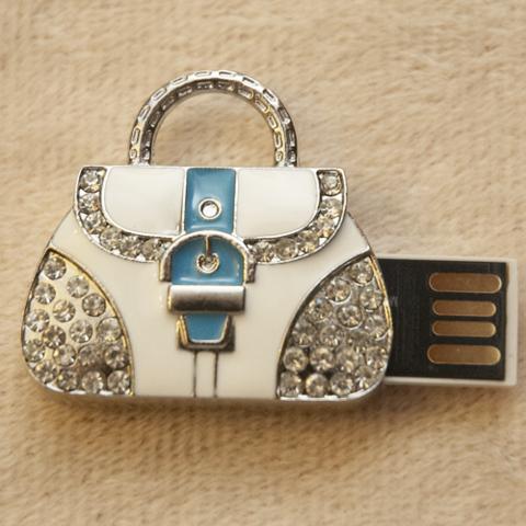 Usb-флешка в форме сумочки со стразами голубого цвета jf_p_bag_blue