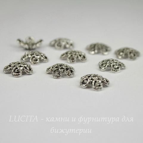 Шапочка для бусины ажурная (цвет - античное серебро) 12х2,5 мм, 10 штук