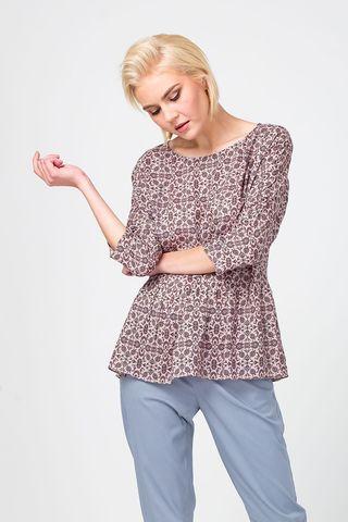 Фото блуза приталенная с мелким принтом и рукавом ¾ - Блуза Г661а-525 (1)