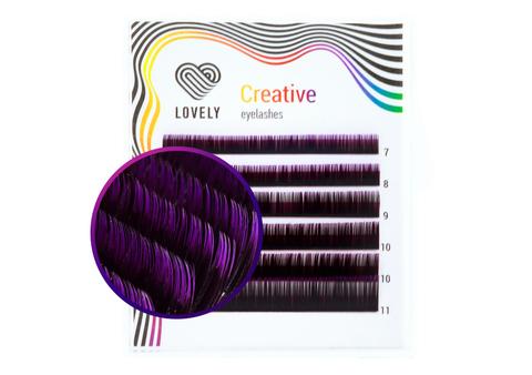 Ресницы двухтоновые фиолетовые Lovely MINI - 6 линий - MIX