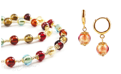 Комплект Carnevale Oro (золотисто-розовые серьги Piccolo, ожерелье)