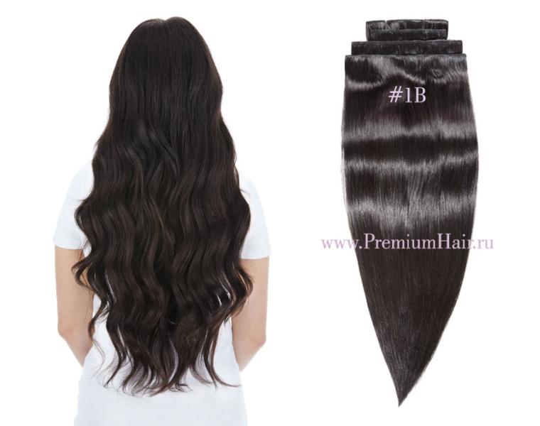 Натуральные волосы на заколках тон 1В черный с коричневым отливом
