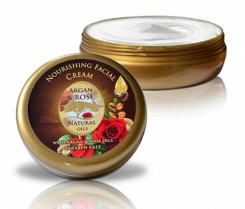 Питательный крем  для всех типов кожи с аргановым маслом и натуральной розовой водой