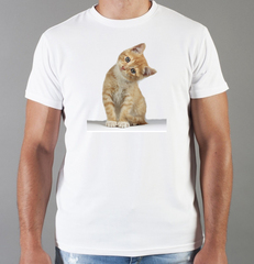 Футболка с принтом Кот, Кошка, Котенок (кошки) белая 0040