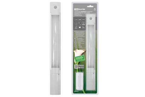 Светильник LED400х37 линейный, 2,5 Вт, акк.Li-Pol 900 mAh, датчик движ. и освещ, USB, TDM