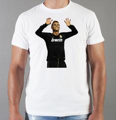 Футболка с принтом Криштиану Роналду (Cristiano Ronaldo) белая 004