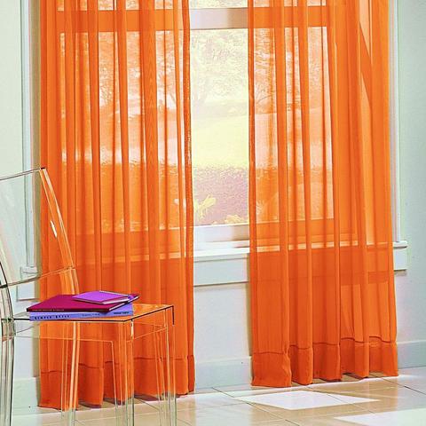 Тюль вуаль на шторной ленте. Оранжевая. оптом. Арт. Kv03