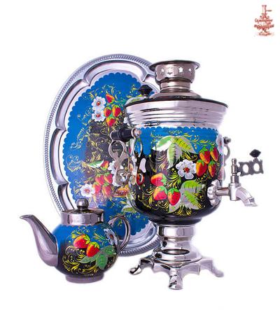 Самовар «В гостях у бабки-ёжки» электрический формой банка 3л в наборе с подносом и чайником