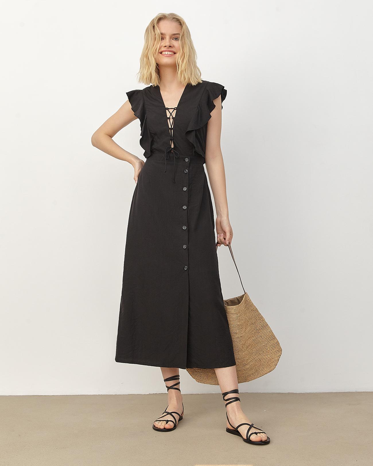 Платье миди на шнуровке черного цвета фото