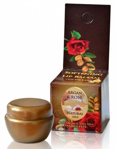 Питательный бальзам для губ с аргановым и натуральным болгарским розовым маслом