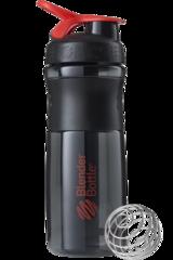 BlenderBottle SportMixer, Универсальная Спортивная бутылка-шейкер с венчиком.  Black-Red-черный-красный 828 мл cat