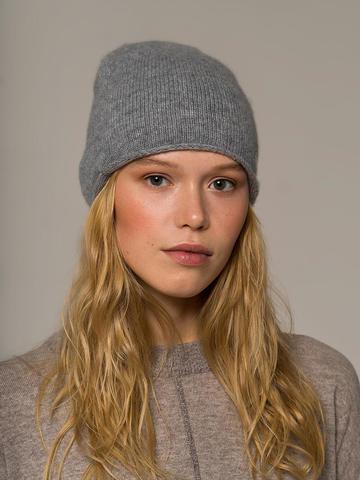 Женская серая шапка из 100% кашемира - фото 2