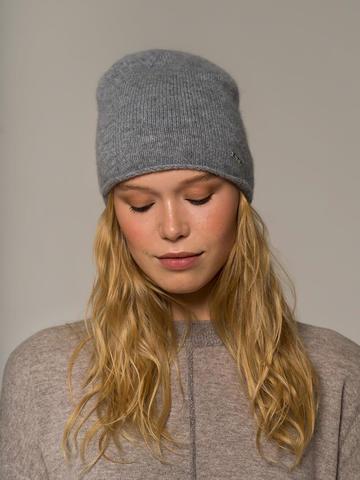 Женская серая шапка из 100% кашемира - фото 4