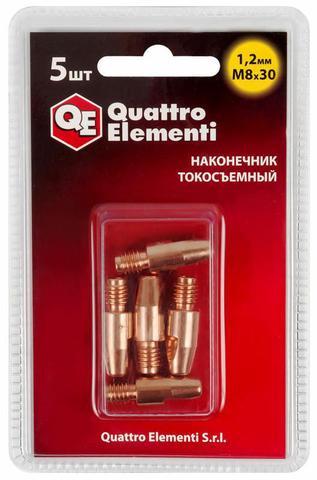 Наконечник токосъемный QUATTRO ELEMENTI M8x30   1.2 мм (5 шт) в блистере, для горелки полу (771-282)