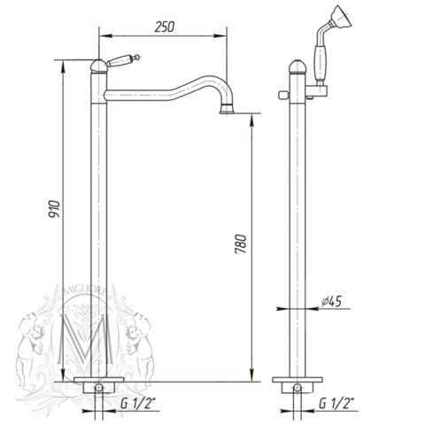 Смеситель для ванны напольный Migliore Oxford ML.OXF-6360 схема
