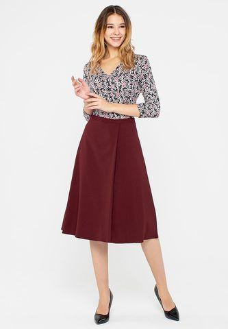 Фото коричневая расклешенная юбка-миди с одной складкой - Юбка Б093-369 (1)
