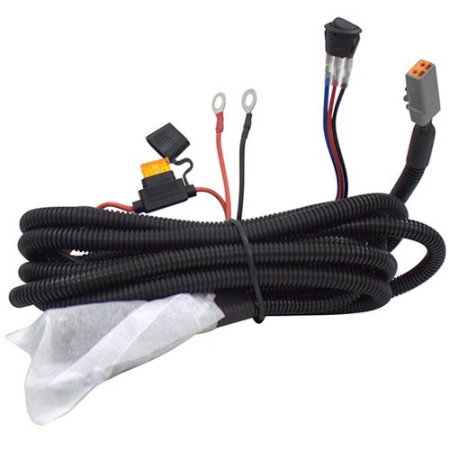 Комплект проводов с разъёмом, кнопкой, реле, предохранителем для фар 6 - 80 светодиодов ALO-AW1