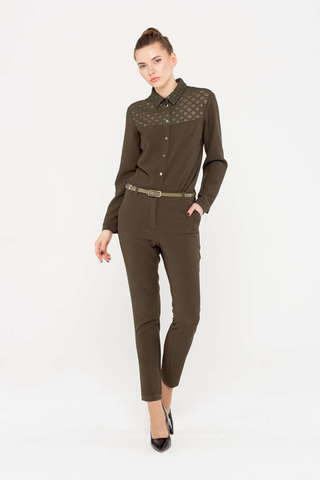 Фото коричневые зауженные брюки с прорезными карманами и застежкой на молнию - Брюки А488-528 (1)