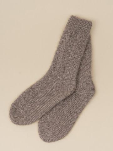 Женские носки бежевого цвета из 100% кашемира - фото 2