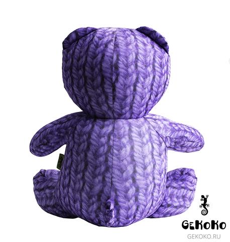 Подушка-игрушка антистресс «Вязаный Мишка», фиолетовый 4