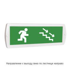 Световое табло оповещатель ТОПАЗ - Направление к выходу вниз по лестнице направо (зеленый фон)
