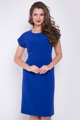 <p>Элегантное платье приталенного силуэта из костюмной ткани. Отличный офисный вариант. Функциональные карманы. Талия завышена, по спинке изделия потайной замок.</p>