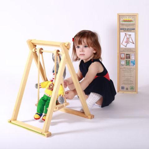 Качели для кукол деревянные