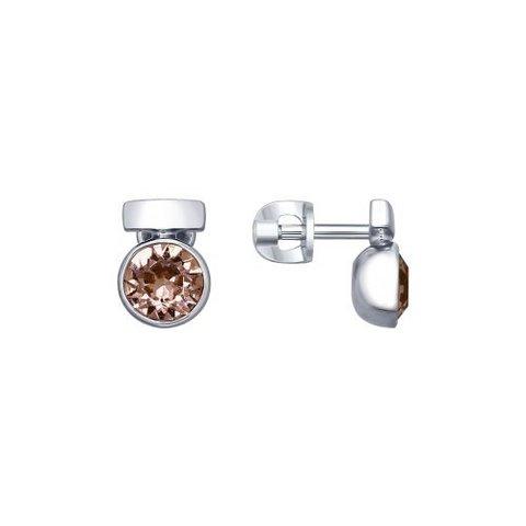 94022601- Серьги-пусеты из серебра со SWAROWSKI