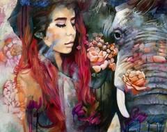 Картина раскраска по номерам 40x50 Девушка и слон