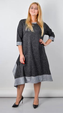 Адажио. Прелестное платье больших размеров. Графит.