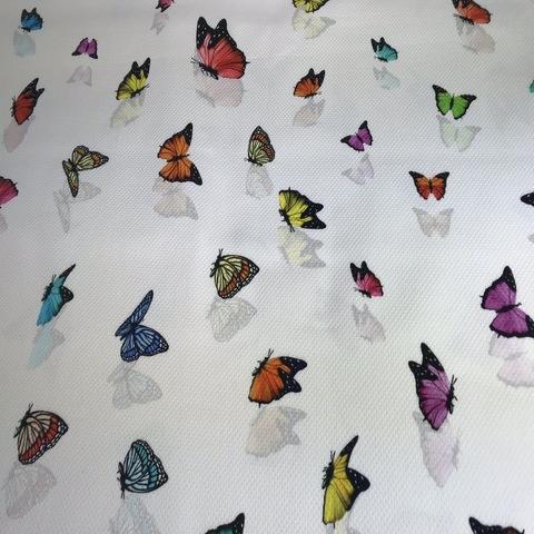 Ткань хлопок пике с эластаном бабочки на белом фоне 2011