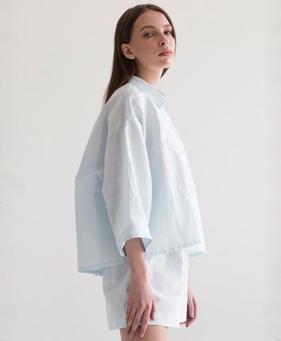 Пижама льняная голубая