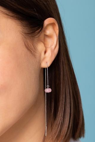Серебряные серьги продевки с розовым кварцем