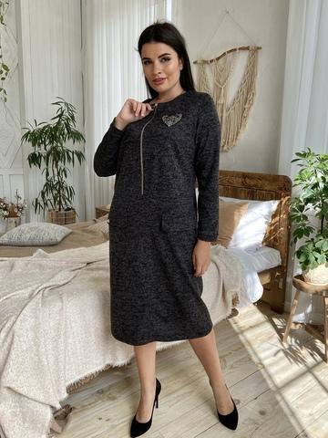 Даяна. Практичное повседневное платье больших размеров. Черный
