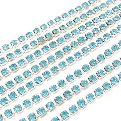 Стразовая цепочка купить оптом Aquamarine бирюзовая