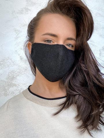 Женская гигиеническая трикотажная маска черного цвета - фото 2