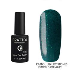 Grattol, Гель-лак Luxury Stones № 001, Emerald, 9 мл