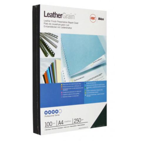 Обложки для переплета картонные GBC А4 250 г/кв.м темно-зеленые текстура кожа (100 штук в упаковке)