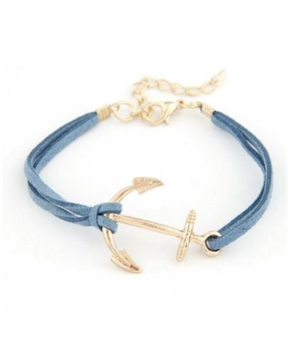Браслет с золотым якорем (голубой)