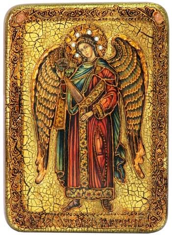 Инкрустированная икона Архангел Гавриил 29х21см на натуральном дереве в подарочной коробке