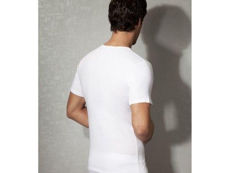 Мужская футболка белая с V-образным воротом из натурального хлопка Doreanse 2810