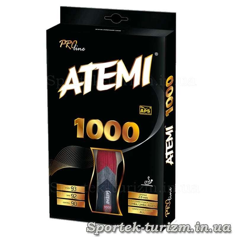 Передня сторона упаковки ракетки Atemi тисячі