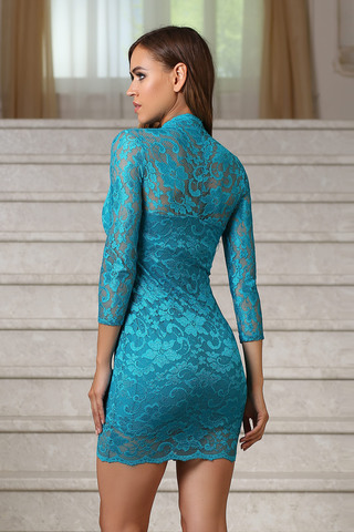 Короткое кружевное платье с V-образным вырезом, бирюзовое 1