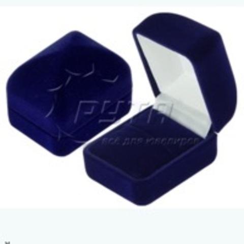 Бархатная, подарочная коробочка-футляр для кольца (синий)