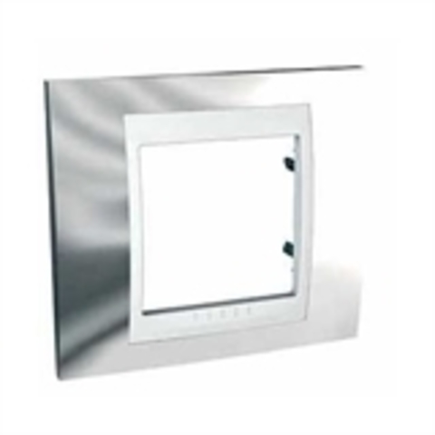Рамка на 1 пост. Цвет Серебро/Белый. Schneider electric Unica Хамелеон. MGU66.002.810